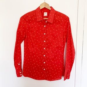 J. Crew perfect shirt red anchor print sz 6